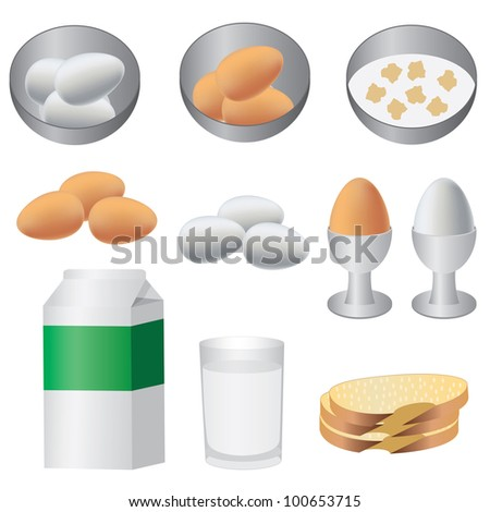 Eggs, milk and bread ready for breakfast on the white background.