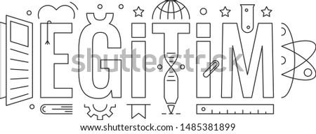 egitim word design. egitim word and egitim symbols. education word concept. education word and education symbols