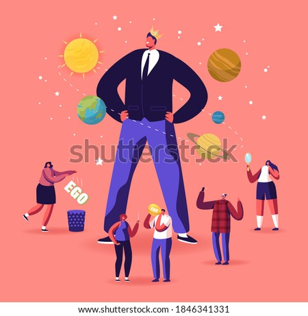 Ego, Narcissistic Self Love Behavior Concept. Tiny Male Female Characters around of Huge Egocentric Macho Man Wearing Crown on Head. Psychological Disorder Symptom. Cartoon People Vector Illustration Foto d'archivio ©
