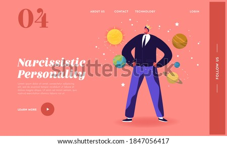 Ego, Self Love Behavior Landing Page Template. Male Character in Crown Imagine himself as Center of Universe with Planets Roll around him. Narcissistic Disorder Symptom. Cartoon Vector Illustration ストックフォト ©