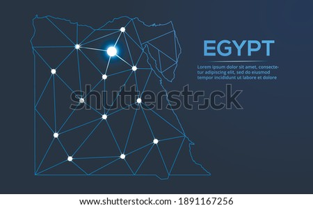 Egypt communication network map. Vector low poly image of a global map with lights in the form of cities. Map in the form of a constellation, mute and stars. Photo stock ©