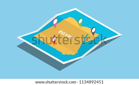 egypt  explore maps with isometric style and pin location tag on top vector illustration
