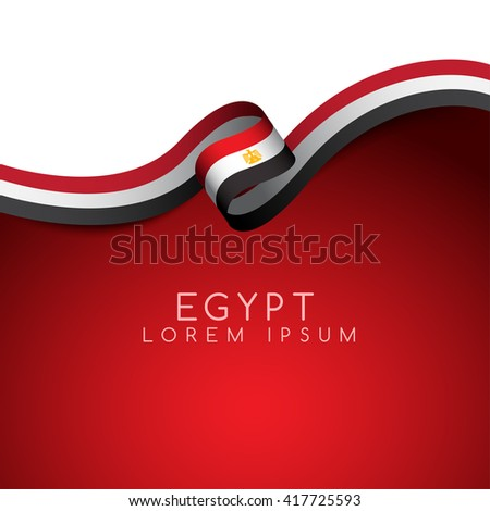 Egypt Flag Ribbon : Vector Illustration