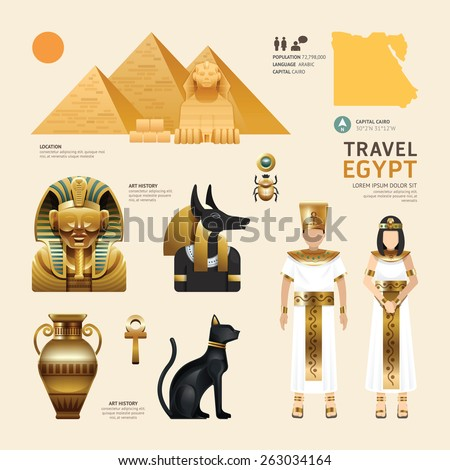 egypt flat icons design travel