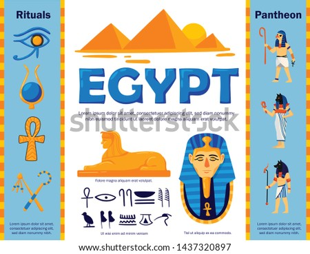 Egypt flowchart composition with authentic egyptian symbols and ancient characters with editable text captions and signs vector illustration