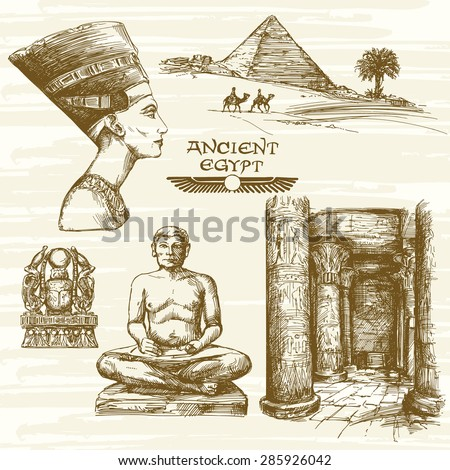 egypt   hand drawn set