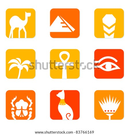 Egypt icons and design elements block isolated on white ( orange, red ) Vector collection of Egypt icons - pyramid, camel, scarab, anubis, obelisk, cat etc.