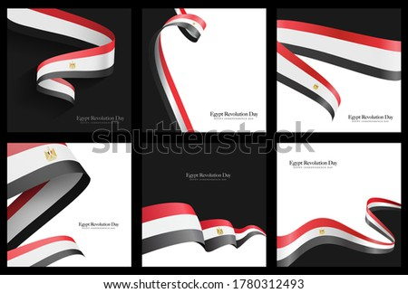 Egypt independence day social media template, national days 23 July, 6 October, 30 June, Sinai day,  25 Januray - Egypt flag