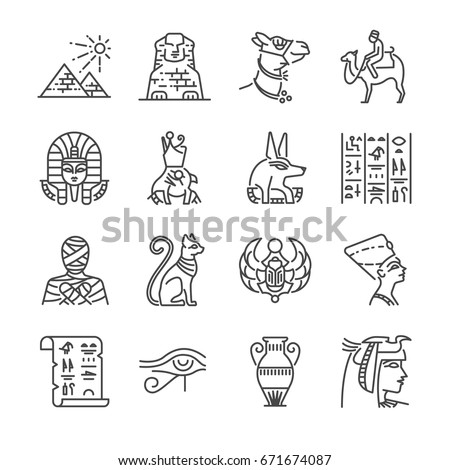 egypt line icon set included