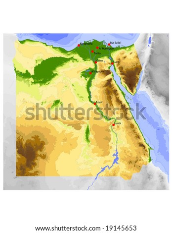 Egypt. Physical vector map, colored according to elevation, with ocean depths and selected cities. Surrounding territory greyed out. 54 layers, fully editable. Data source: NASA