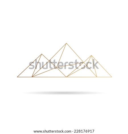 Egypt pyramids icon abstract isolated on a white backgrounds, vector illustration