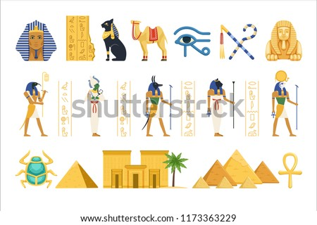 Egypt set, Egyptian ancient symbols of the power of pharaohs and gods colorful vector Illustrations