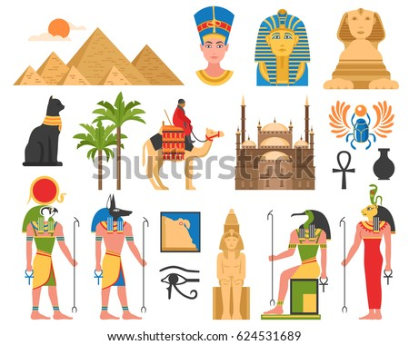 Egypt set of ancient egyptian idols statues and architectural structures flat isolated images on blank background vector illustration