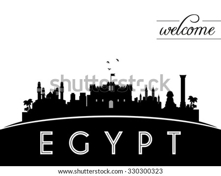 egypt skyline silhouette  black