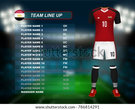 Egypt soccer jersey kit with team line up board on soccer stadium and crowd fan with spot light backdrop on night time. Concept for Africa result background in vector illustrative ストックフォト ©