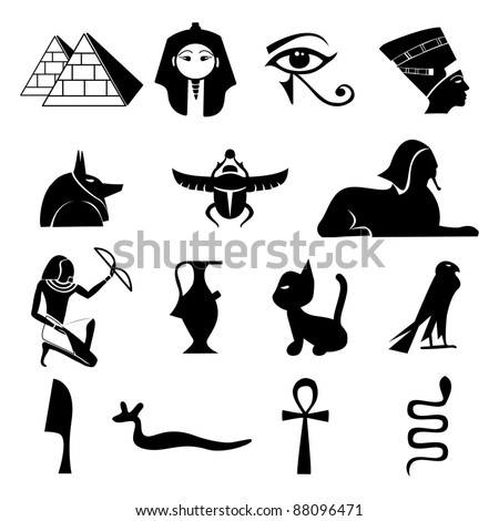 Egypt Symbols set-Silhouettes - stock vector