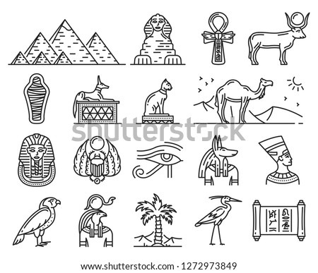 Egypt thin line icons of ancient gods and religion symbols. Sphinx, pharaoh pyramids and Anubis, Ankh, Horus eye and Tutankhamun. Text on paper - Anubis god and Egypt