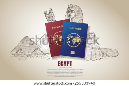 egypt travel poster hand drawn