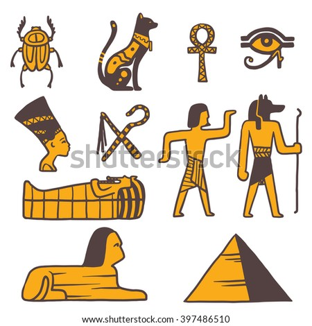 egypt travel vector icons