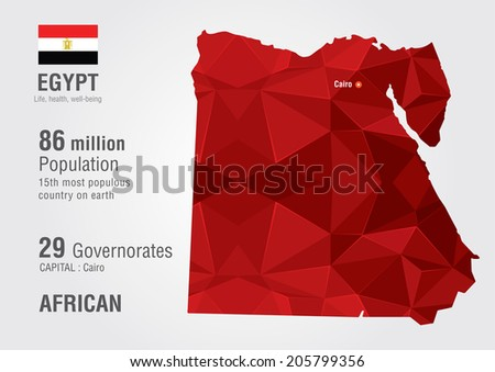egypt world map with a pixel