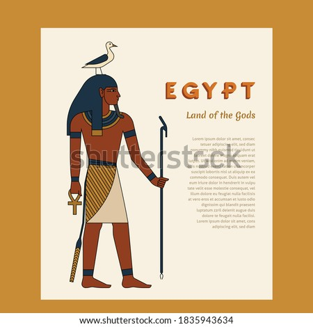 Egyptian ancient god Seb or Keb. The man is holding a staff. On the head are bird. Ankh. Vector illustration with place for the text. Stock fotó ©