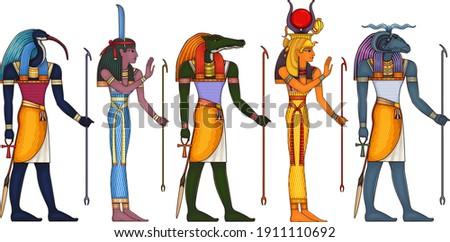 Egyptian ancient symbol.Religion icon.Egypt deiteis.Culture.Design element.Thoth.Khnum.Isis.Sobek.Nut.