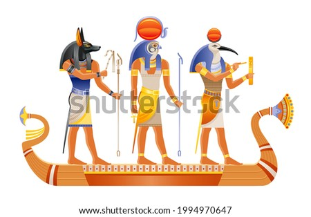 Egyptian boat with ancient gods Ra, Anubis, Thoth. Papyrus art from Ancient Egypt. Vector pharaoh historic ornament. Mythology civilization symbol. Sun Death and writing gods. Egyptology vector set Stock photo ©