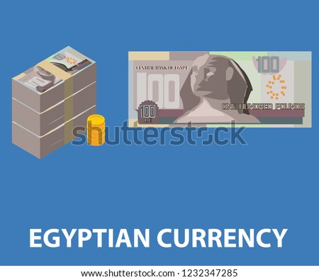 EGYPTIAN CURRENCY one hundred pill of egyptian currency vector eps for animation infographic and print