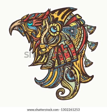 Egyptian god Horus, eye of Ra. Tattoo and t-shirt design. Symbol of ancient civilization