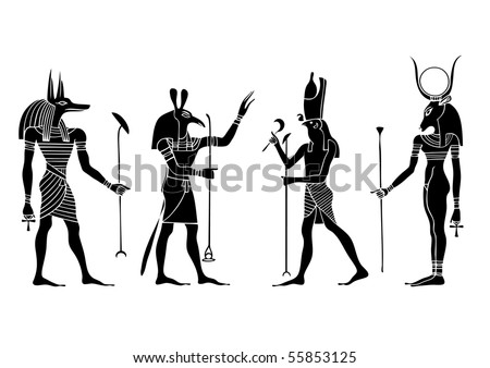 stock vector : Egyptian gods and goddess - Anubis, Seth,Hathor, Horus