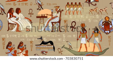 Egyptian gods and pharaohs seamless pattern. Murals ancient Egypt seamless pattern. Hieroglyphic carvings on the exterior walls of an ancient egyptian pattern