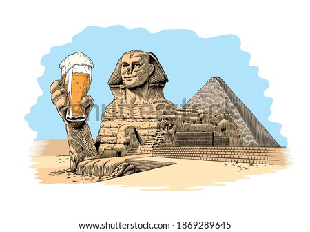 Egyptian great sphinx drinking beer. Comic style vector illustration.Poster, greeting card or t-shirt print design. Zdjęcia stock ©