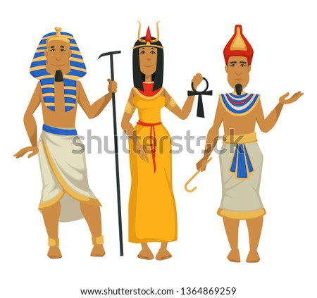 Egyptian kings and queen Pharaohs and Cleopatra isolated male and female characters vector ancient Egypt scepter and coptic cross traditional clothing crowns woman and men royalty egyptology science.