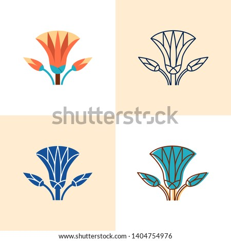 Egyptian lotus icon set in flat and line style. Exotic waterlily flower symbol. Vector illustration.
