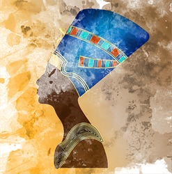 Egyptian old fresco icon. Queen Nefertiti. Vector portrait Profile, mural painting style