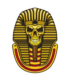 Egyptian pharaoh skull vector design with gold mask of Ancient Egypt king. Death mummy skeleton head of Tutankhamun with royal crown, striped nemes and braided beard, horror tattoo or t-shirt print