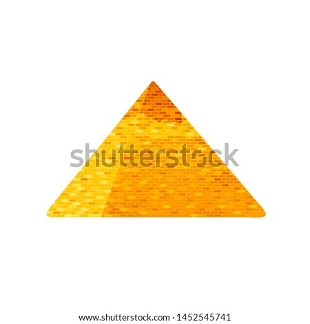 Egyptian Pyramid. Great ancient Giza building. Historical icon. Pharaoh tomb in Cairo, Egypt. Famous old African stone architecture symbol in gold. Vector illustration isolated on white background.