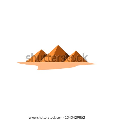 Egyptian pyramids in desert. Group of pyramids on sand. Can be used for topics like landmark, Egyptology, heritage