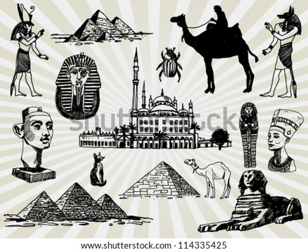Egyptian Set Hand Drawn
