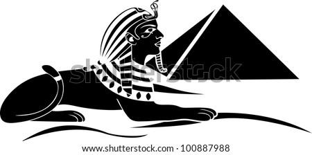egyptian sphinx with pyramid black stencil