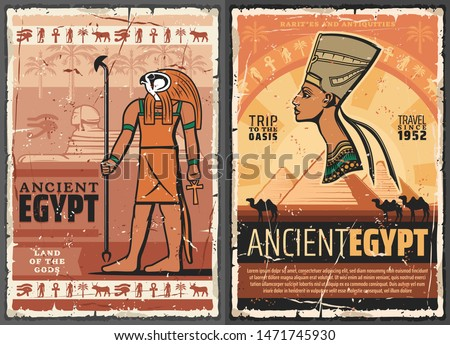 Egyptian travel vector posters with ancient Egypt pharaoh, Sphinx of Giza pyramids and Horus God with ankh, Nefertiti queen, hieroglyphs, palms and camels, history, egyptology and mythology design Stock photo ©