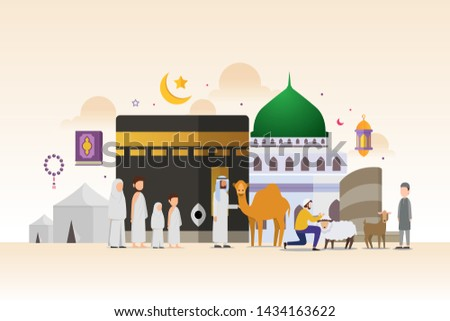 Eid adha mubarak with tiny people character design concept Hajj and Umrah season. Vector illustration