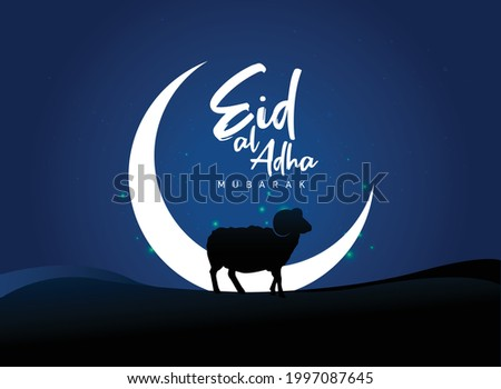 Eid Al Adha Celebration of Muslim holiday Background. The sacrifice a camel, cow, sheep and goat Eid-al-adha concept vector illustration.