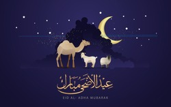 Eid Al Adha Celebration of Muslim holiday the sacrifice a camel, sheep and goat, can use for, landing page, template, ui, web, mobile app, poster, banner, flyer, background