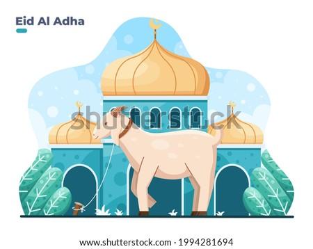 Eid Al Adha flat vector illustration with goat or sheep animal and mosque. Sacrifice animal celebration Islamic event. Selamat hari raya Idul Adha means happy Eid al-Adha also called Sacrifice festive
