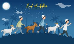 Eid al Adha greeting card. cartoon muslim boys take a goat for sacrifice with full moon, stars and mosque as background. Vector illustration for Eid greeting card, banner and poster