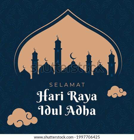 Eid al Adha greetings social media post. selamat hari raya Idul Adha translates to Eid al Adha mubarak. elegant design illustration