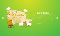 Eid al Adha mubarak greeting concept with cattle, goat and sheep character