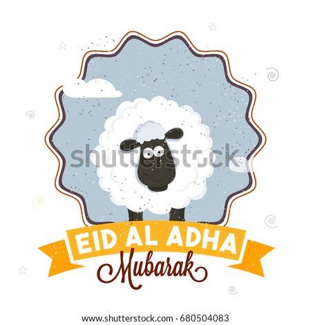 Eid-Al-Adha Mubarak poster, banner or flyer with illustration of sheep in stylish frame. Muslim Community Festival concept.
