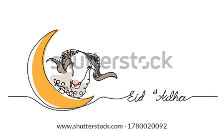 Eid al-Adha simple vector background, web banner with sheep goat and crescent. One continuous line drawing of sheep and moon.